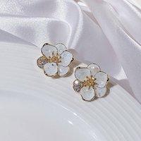 Korean dongdamen Earrings female 925 silver needle micro inlaid Flower Earrings drop shell oil personality 18K Gold Earrings