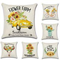 Sunflower Bicycle Truck Print Cotton Linen Thorw Pillow case Summer Farm Theme Cushion Cover Home Chair Sofa Car Decorative