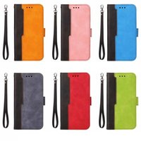 2021 Hybrid Color Wallet Leather Cases For Iphone 13 12 Pro Max Mini 11 XR XS 8 7 6 SE2 Fashion Contrast Credit ID Card Slot Holder Stand Cover Magnetic Purse Strap Lanyard