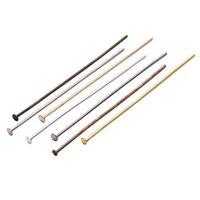 100-200 stks / zak 20 25 30 40 50 60 70 mm Flat Head Pins Gold / Copper / Rhodium Headpins voor Sieraden Bevindingen Maken DIY-benodigdheden