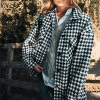 Kadın Ceketler Blsqr Sonbahar Kış Ekose Gevşek 2021 Nedensel Houndstooth Uzun Kollu Streetwear Coat