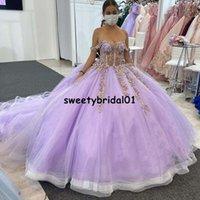 vestidos de xv años 2021 Lavender Off Shoulder Quinceanera Dress with 3D Floral Applique Pageant abiti da cerimonia