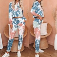Women's Two Piece Pants Tie-dye Suits Women Tops T Shirt Plus Size Loose Long Sleeve Pink Elastic Waist Casual Ladies Tracksuits Wear Outfit