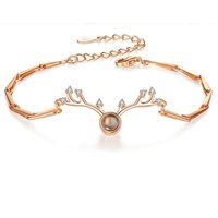 Fashion S925 Bracelet Designer Creative Deer Shape A Hundred Languages I Love You Simple Jewelry Gift Female Ofertas Relampago