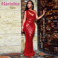 Winter Red Evening Party Dress Sexy Hollow Out Shiny Sequin Maxi Dresses Elegant Birthday Wear Fashion Runway Gown 210512