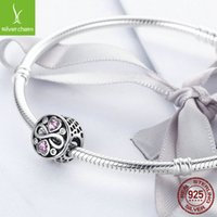 Bamoer Authentic 100% 925 Sterling Silver Infinity Love Pink Heart Crystal Beads Passa Charm Armband Fina Smycken S925 SCC240 2003 Q2