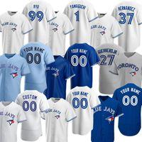 Personalizado 27 Vladimir Guerrero Jr. Toronto Jersey Blue 2021 Jays George Bell Joe Carter Roberto Alomar Justin Smoak Morris Martin Donaldson