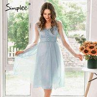 Simplee Elegante Spitze Sommer Solid Party Kleid Frauen Sexy V-Ausschnitt Urlaub Blaues Kleid Weibliche Mode Kurze Kleider Büro Damen 210413