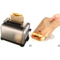 محمصة حقيبة غير عصا حقيبة الخبز أكياس ساندويتش قابلة لإعادة الاستخدام المغلفة الألياف الزجاجية نخب ميكروويف التدفئة المعجنات أدوات HWB8864