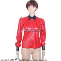 Rojo con botones de la blusa de látex sexy negra en la parte delantera de las mangas de goma camisa de goma YF-0022 Blusas de las mujeres camisas