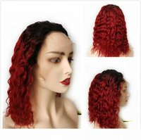 1B 99J Burgundy Ombre Short Pixie Human Hair Brazilian Remy Curly Glueless Lace Front Wig For Black Women Deep Wave Wine Red Colored Bob Wig