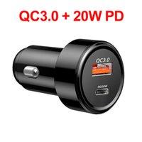 Caricabatterie per auto da 20W PD QC3.0 Ricarica rapida Veloce per il telefono Tablet PC iPhone Xiaomi Huawei USB Tipo C Carica automatica