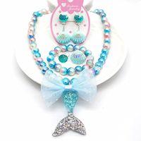 키즈 플라스틱 보석 6 개 세트 인어 공주 다채로운 구슬 팔찌 목걸이 껍질 귀걸이 반지 세트 소녀 생일 선물 작은 선물 아이디어