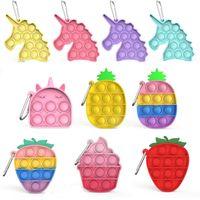 Carino Pops Keychain Its Mini Unicorn Pineapple Semplice Dimple Toy Animal Charm Trinket Push Pops Pops Fidget Car Key Holder Key di DHL
