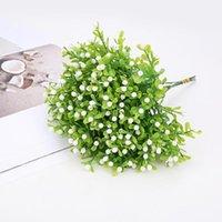 Artificial Plastic Flowers White Gypsophila Wedding Decor Fake Plants Faux Simulation Grass Home Garden Outdoor Decorative & Wreaths