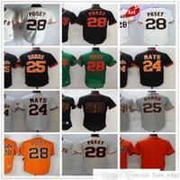 Retro genähte Baseball-Trikots 28 Buster POSEY 25 Barry Bonds 24 Willie Mays Jersey genäht grau schwarz weiß orange leer nein nummer name mann größe s-xxxl