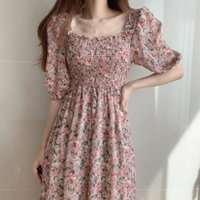 Party Dresses Vintage Floral Dress Woman Style Puff Sleeve Ruched Chiffon Square Collar Elegant Midi Pastoral 2021