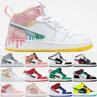 Jumpmans 1 1 S Çocuklar Basketbol Ayakkabıları Boya Damla Işık Duman Gri Pembe Kuvars Gölge Şanslı Yeşil Erkek Kız Toddler Açık Sneakers Boyutu 27-35