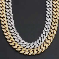 12mm Top Quality Classic Diamond Cuban Miami Chain Link Necklaces mens hiphop iced out jewelry