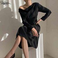 Длинные рукава офисные дамы длинные платья Vestidos Slash шеи черное белое вечеринка платье женское весеннее лето платье женщины 13067 210518