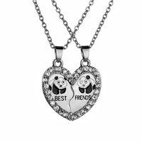 PCs / conjunto bonito panda amigos coração quebrado colar de amizade casal pingente cadeia brilhante zircon presentes jóias colares