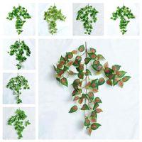 Künstliche grüne Seide hängende Blatt Gartendekorationen 8 Arten Girlande Pflanzen Vine Ahorn Traube Blätter für Haus Hochzeit Party