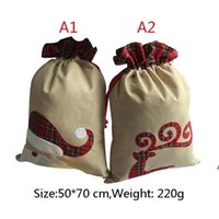 Christmas-Decorations 50*70 cm Xmas gift bags linen drawstring bag Christmas linens sack Party Supplies ZZE8709