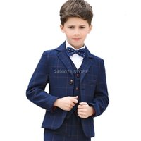 Flower Boys Formal School Suits for Weddings Boys Jacket Shirt Vest Pants Tie 5pcs Tuxedo Kids Prom Party Dress Clothing Set 201127