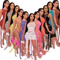 Frauen Nachtclub tragen sexy Sheer Kleid plus Größe Mesh Minirock Sleeveless dünne Bandage einteiliges Kleid Mode Packung Hüftrock 2021