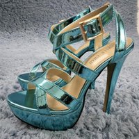 Mulheres Stiletto High High High Heel Sandal Sexy Ankle Strap Open Toe Plataforma Turquesa Patente Moda Vestido Partido Senhora Senhora Sapato 3463SL-UMA Sandálias