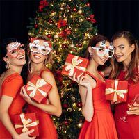 2022 happy new year 9Pcs Santa Claus Christmas Tree Elk Glasses Prop Christmas Decorations New Year Navidad Kids Gift