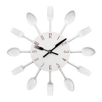 Кухонные настенные часы, Timelike 3D съемные современные столовые приборы ложка вилков часы зеркало наклейки наклейка комната домашние часы