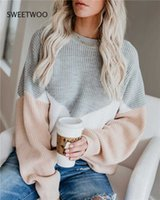 Winter Women's Plus Size Loose Knitted Sweater Pullover Long Sleeve Pullover Casual Color Block Striped Sweater G0922