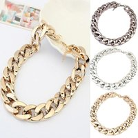 Fashion Big Golden Chunky Chain Necklaces Luxury Gorgeous Simple Punk Statement Men Women Stainless Steel Link,