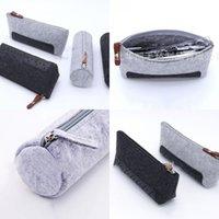 Cylinder Pen Bag Felt High Capacity Pencil Case Grey Black With Zipper Mobile Phone Storage Bags 3 5hk Y2