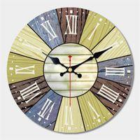 Relógios de parede Grandes relógio de fazenda, rústico tranquilo 12 '' Recuperado Madeira Roman Numeral Block Cozinha, Sala de estar, Escritório Redondo