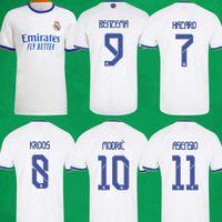 Echt Madrid Soccer Jerseys 21 22 Home Away Dritter Fussball Hemden Alaba Hazard Sergio Ramos Benzema Asensio Camiseta Männer + Kinder Kit Socken 2021 2022 Uniformen