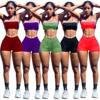 Plus size Women casual tracksuits sexy Sweatsuits letter print Two piece sets summer clothing sleeveless crop top+mini shorts 4944