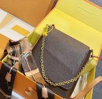 حقائب نسائية قطري أكياس أزياء مصمم أزياء إلكتروني كلاسيك حقيبة يد جودة عالية الاتجاه حقيبة كتف واحد مع وشاح الحرير WF2105101