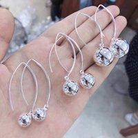 BoCai S925 Стерлингов для женщин 2021 Мода Ювелирные Изделия Тайские Серебряные Серьги Серьги Женский Круглый жемчужный ухо