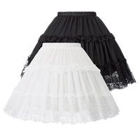 Damska Lolita Spirts Crinoline Petticoat Wieczór Party Underskirt Vintage Elastyczna Talia 2-Loop Ruffles Huśtawka Czarna Gotycka Spódnica