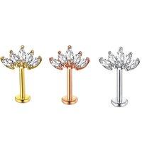 Junlowpy 16g de acero inoxidable Anillos de labios Labret Studs Tragus Helix Pendiente Stud 6 / 8mm Piercing Piercing Jewelry para mujeres 50pcs