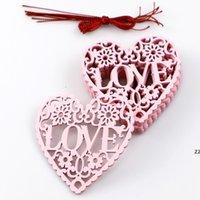Adornos de amor de madera Decoraciones de la boda Día de San Valentín regalos 10 unids / lote Suministros de boda Decoración de fiesta 8cm * 8cm * 0.3cm HWE8716