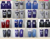 2021 Vintage Hommes Retro Classic Basketball Jersey De'Aaron 5 Fox Marvin 55 Bagley Chemises Respirantes Short Black Bleu Blanche Blanc Taille S-2XL