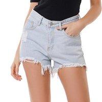 Women's Jeans Sexy Ripped Women High Waist Denim Shorts Summer Hole Mini Pants Bottom Ladies Streetwear Washed
