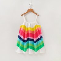 Девушки Радуга Брекеты Платья Летние 2021 Детская Одежда Boutique 1-5T Маленькие Девушки Рукавелики Повседневные Платья Мода Стильный