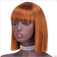 Lace Wigs Kim K Orange Blonde #30 Pixie Brazilian Straight Short Human Hair Bob Wig Full Thick Fringe 8-14inch Highlight Glueless