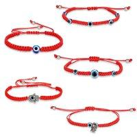 Fashion Lucky Blue Eye Evil Turkish Chain Bracelets For Women Men Handmade Braided Red Rope Bangle Jewelry Female Whole