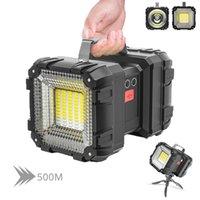 Puissantes torches LED lampe de poche XHP50 imperméable à double tête de projection USB rechargeable de puissance haute puissance rechargeable flambeau avec la base