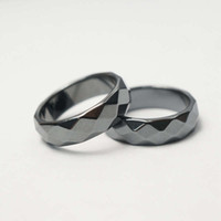 Anelli di pietra ematite sfaccettati per donna Uomo, anelli di energia no-magnetica, qualità AAA superbamente lucidata, taglia 6 7 8 9 10 11 12